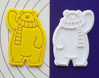Polar Bear Saying Hi Cookie Cutter and Stamp