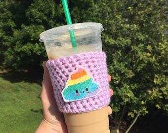 Poop emoji - Crochet coffee cozy - Drink cozy - Coffee cozy - Cup cozy - Coffee cup cozy - Cup sleeve - Coffee cup sleeve - Crochet cup cozy