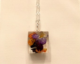 Viola Cube Pendant, resin jewelry, sterling silver jewelry, botanical jewelry, viola flower jewelry, pressed flower jewelry
