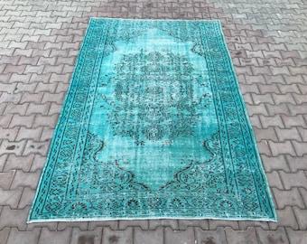 Blue Rug,5'5''x8'3''rug,Decorative rug,runner rug,Area rug,Anatolian rug,Oushak rug,Turkish handwoven rug,Pastel rug,wool rug,oushak runner