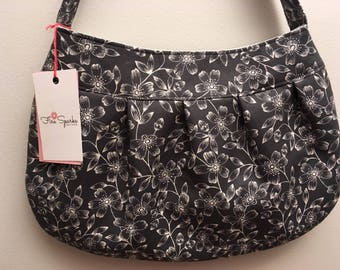 Pleated Fabric Purse, Large - Dark Grey Floral - Buttercup bag, cotton, handbag, dark grey, flowers, shoulder bag
