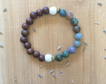 Essential Oil Diffuser Bracelet, Indian Agate Beads, Madre De Cacao Beads, White Lava Beads