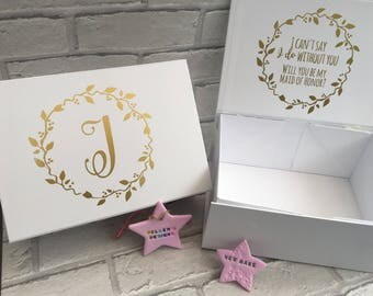 Bridesmaid Thank you/proposal box- decal only! (Box not included)