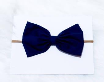Nylon Headband - Baby Hair Bow - Baby Headband - Navy Blue Headband - Hair Accessories - Baby Bows - Newborn Headband - Stretchy Headband