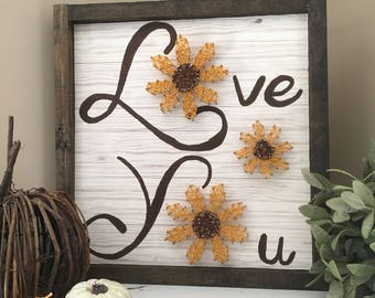 Love you flower sign