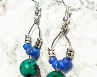 Azurite and Chrysocolla Dangle Earrings
