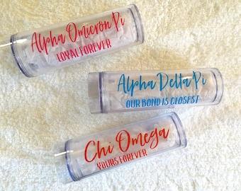 Sorority Tumbler, AOII ADPi Chi O Sorority Gift, Sorority Water bottles