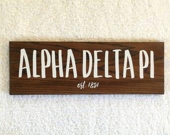 Alpha Delta Pi Wooden Sign, ADPi Sorority Gift, Sorority Wall Decor
