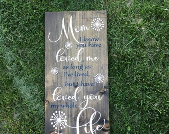 Mom I Know You Have Loved Me Sign