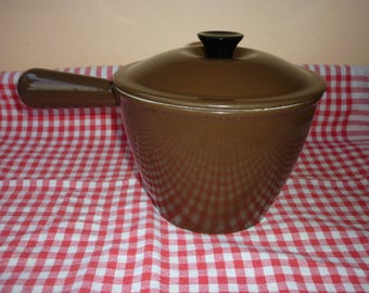"""Pan with lid in enamelled cast iron brown diameter 6.7"""" LE CREUSET 1970 FRANCE"""