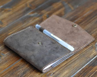 Personalized Leather Journal Cover, FREE USA SHIPPING, Leather Notebook Cover, Leather Field Notes Wallet, Notebook Cover, Chestnut Brown
