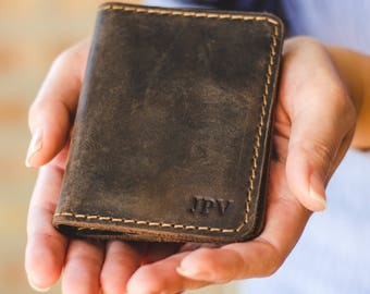 Personalized Leather Wallet, Perfect Groomsmen Gift, Minimalist Bifold Leather Wallet, Distressed Leather Wallet - Knox | Chestnut Brown