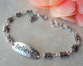 Believe Bracelet.Inspirational Words.Metal.Hammered.Small.Bridal.Dainty.Valentine.Heart Charm.Anniversity.Graduation.Birthday.Gift.Handmade.
