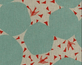 Kokka Fabric Linen Canvas - Japanese Fabric - Echino 2018 Bubbles in Mint - Cotton Canvas Fabric - Half Yard (about 50cm) Pre Cut