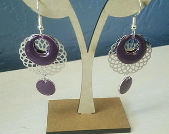 earrings, silver and plum