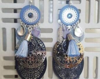 Shades of blue dangling earrings
