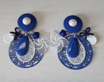 Earrings, blue and white