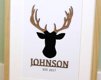 Family Name Sign, Deer Antlers, Wood Cut, Wedding Gift, Surname Sign, Wedding Signs, Surname, Custom Wedding Gift, Family Name, 8x10, A4
