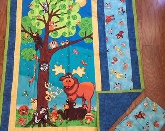 50% OFF SALE: Woodland Animal Baby Panel Quilt Set- Last One
