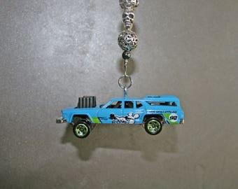 Rearview mirror car charm, hotwheel car charm, rearview mirror bling, beaded mirror charm, car accessories, demolition derby car