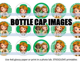 """Sofia Girl scout printables  4x6 - 1"""" circles, bottle cap images, puppy puppies scouts girls logo"""