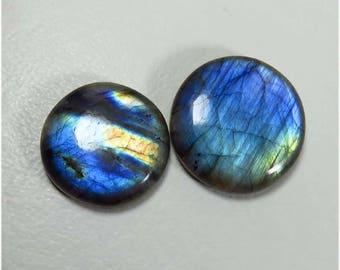 2 Pcs. Blue Flash Labradorite Gemstone. 80.95 Cts. Natural Labradorite cabochon. 24-27 mm. Round Spectrolite Blue labradorite loose. LB-16