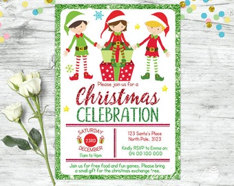 Christmas Invitation, Santa Invitation, Elves, Elf Christmas Party Invitation, Christmas Invite Printable, Christmas Invitation Template