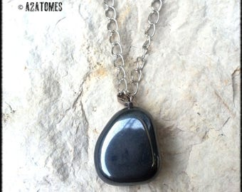 Haematite on silver plated chain pendant necklace