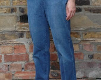 1950's ladies Shorthorn Levis western big E high waist jeans with pearl snaps and side zip, 26
