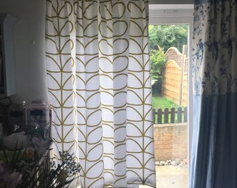 Pencil pleat curtains Made In Orla Kiely olive green large linear stem cotton fabric