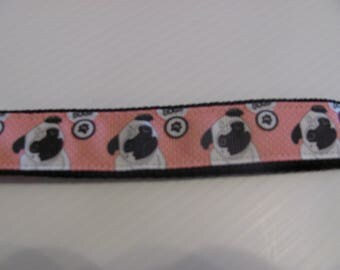 Pug  Wristlet Key Fob