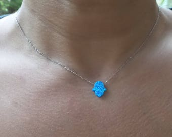 Hamsa Necklace Sterling Silver/ Opal Hamsa Pendant/ Blue Opal Hamsa/ Hamsa Hand Necklace/ Yoga Jewelry/ Protection Necklace/ Birthday Gift
