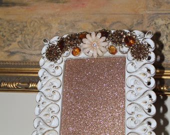 Vintage White and Gold Jeweled/Rhinestone and Ceramic Picture/Photo Frame