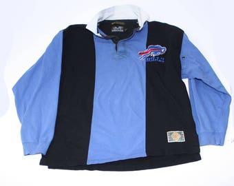 Vintage Buffalo Bills long sleeve polo shirt mens XL