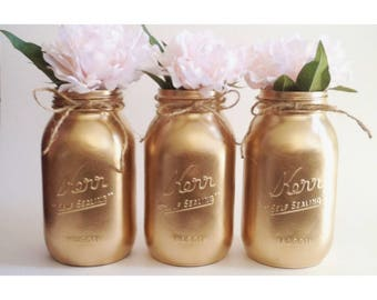Gold Mason Jars, Gold Centerpieces, Gold First Birthday