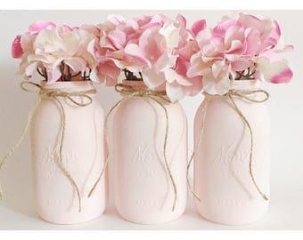 Pink Mason Jars, Pale Pink Centerpieces, Babyshower Decor