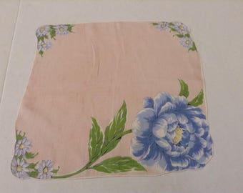 Vintage Handkerchief / Blue Fluffy Flower