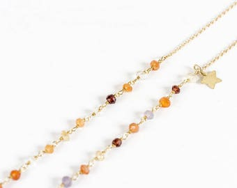 Necklace silver gold plated end & gemstones