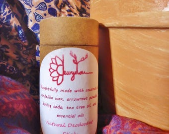 Natural Deodorant Stick- Coconut oil- arrowroot powder- essential oils- vegan- eco friendly packaging