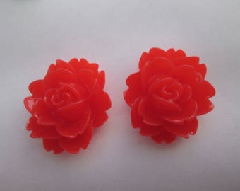 2 cabochons resin red flower oval 20 x 18 mm