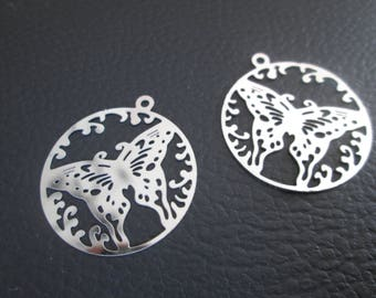 2 prints / charms round Butterfly pattern 26 x 23 mm stainless steel
