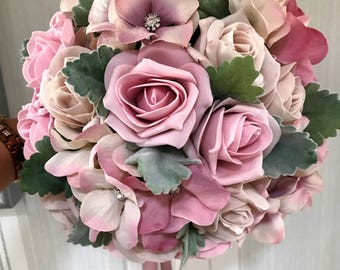 Gorgeous vintage blush/pinks wedding bouquets, Brides, Bridesmaids, Flowergirls etc