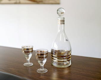 Vintage Crystal Soviet Drinkware Set with Decanter