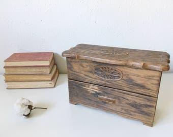 Vintage Desk Organizer + Wood-Look Plastic Caddy Floral Motif + Mail Organizer + Retro Desk + Kitchen Recipe Storage