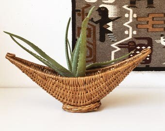 Vintage Crescent Wicker Boat Basket + Neutral Plant Holder Planter + Boho Bohemian + Jungalow + Naturally Modern + Woven Organization Bowl