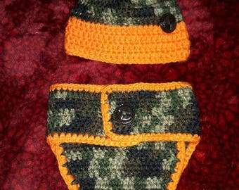 Camo Newborn Diaper Cover Set
