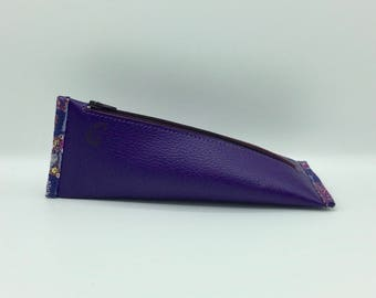 Berlingot purple leather clutch