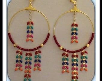 Creole golden chain ear multicolor earrings