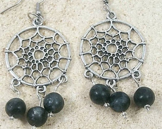 Halloween earrings, Halloween jewelry, spider web earrings, spider earrings, goth jewelry, labradorite earrings, chandelier earrings, gifts