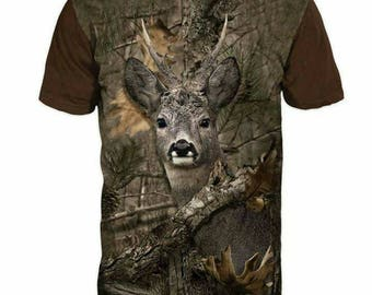 New ultramodern 3D  High Quality  Print Hunting Deer Real Nature short Sleeve t-shirt